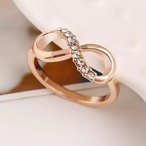 Rose Gold Infinity Ring With Crystals